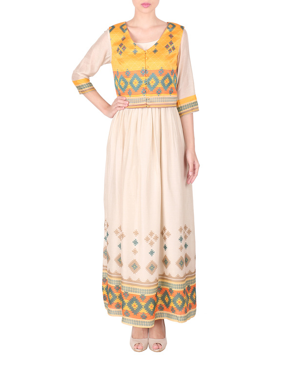 Cotton silk long ankle length dress with koti