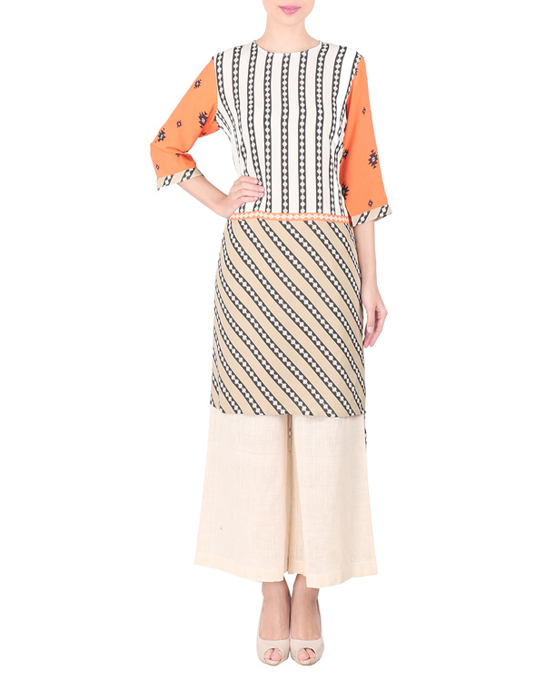 Moss crepe high low kurta with palazzo