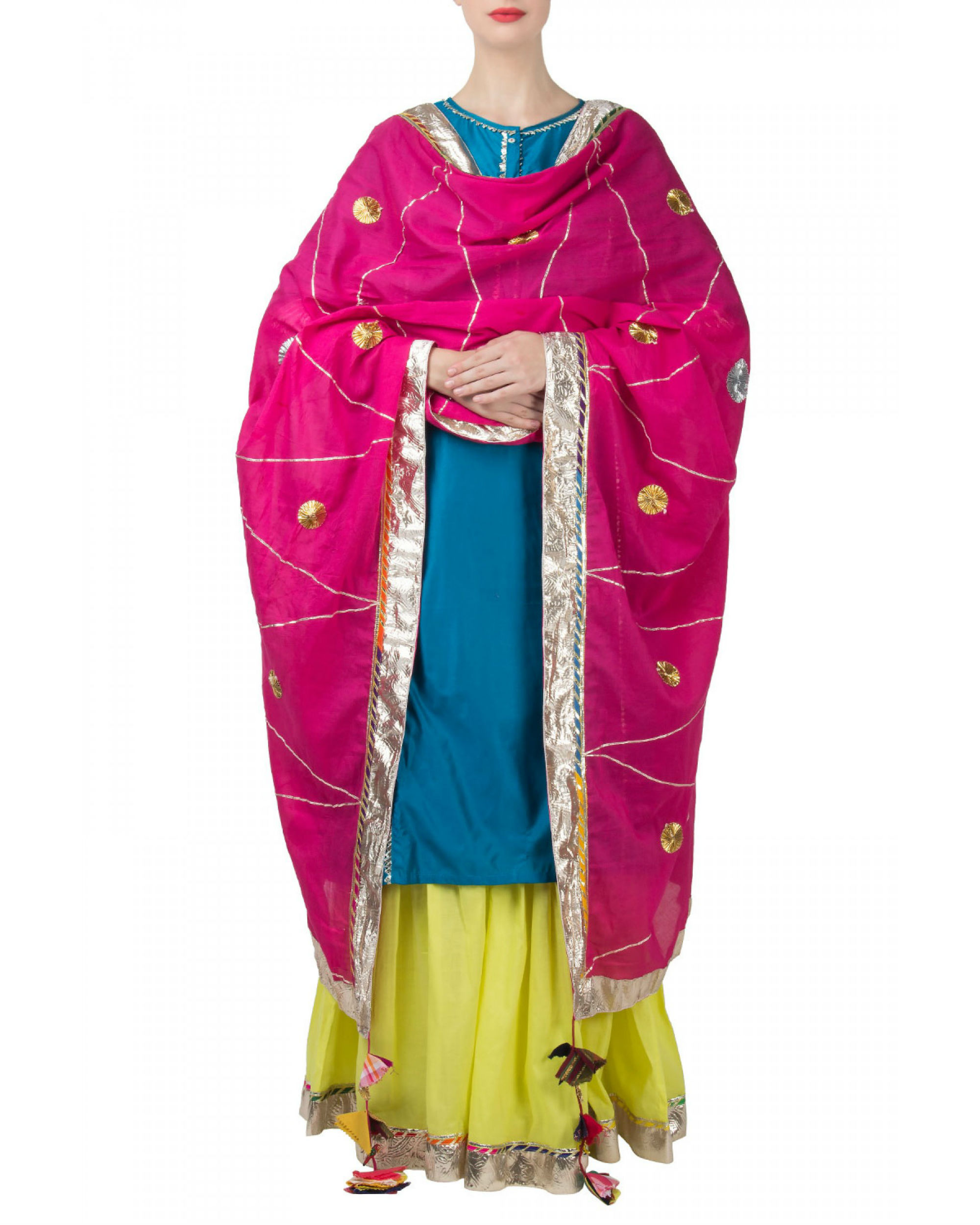 Blue pink anarkali set