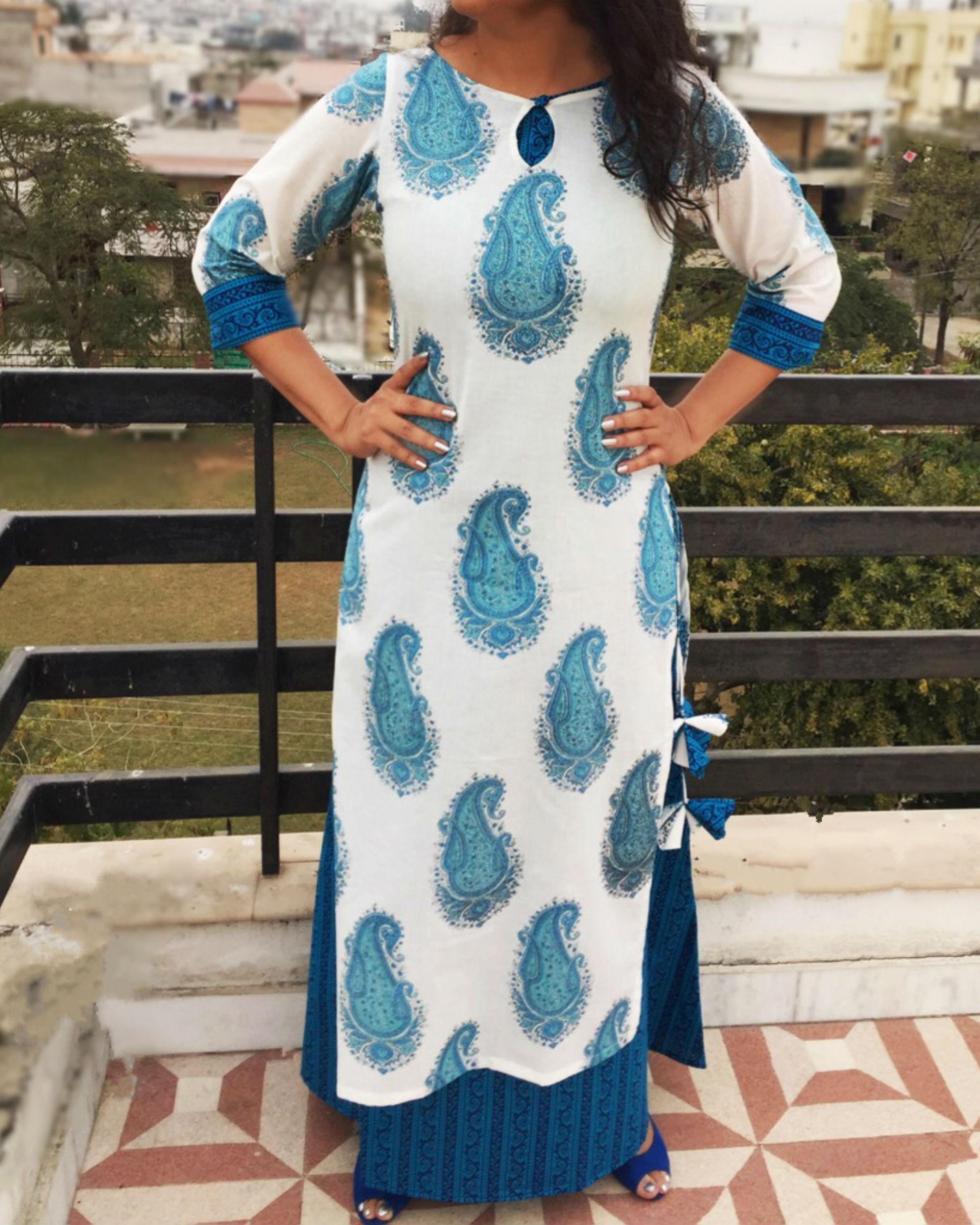Blue paisley double dress