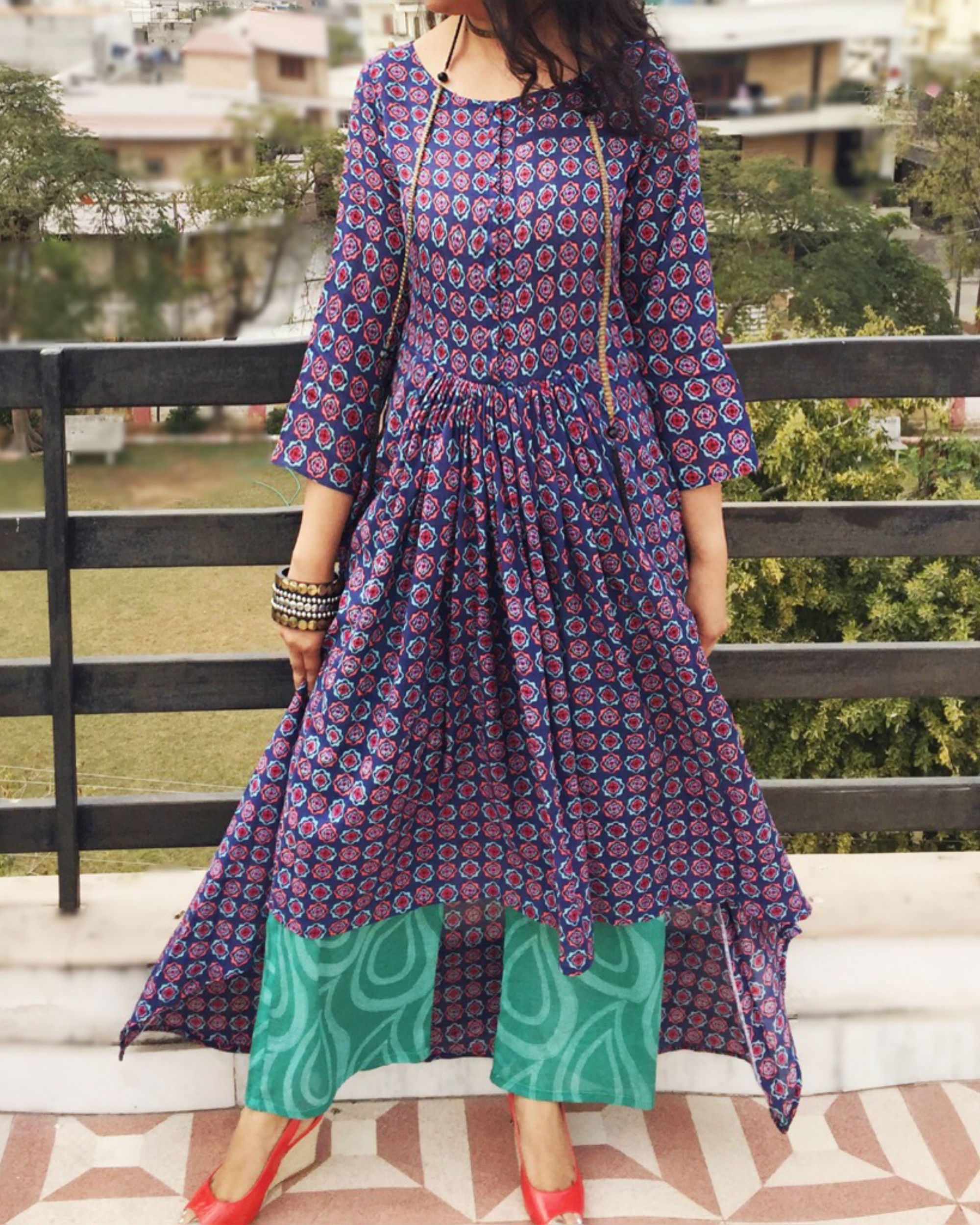 Purple asymmetric kurta set