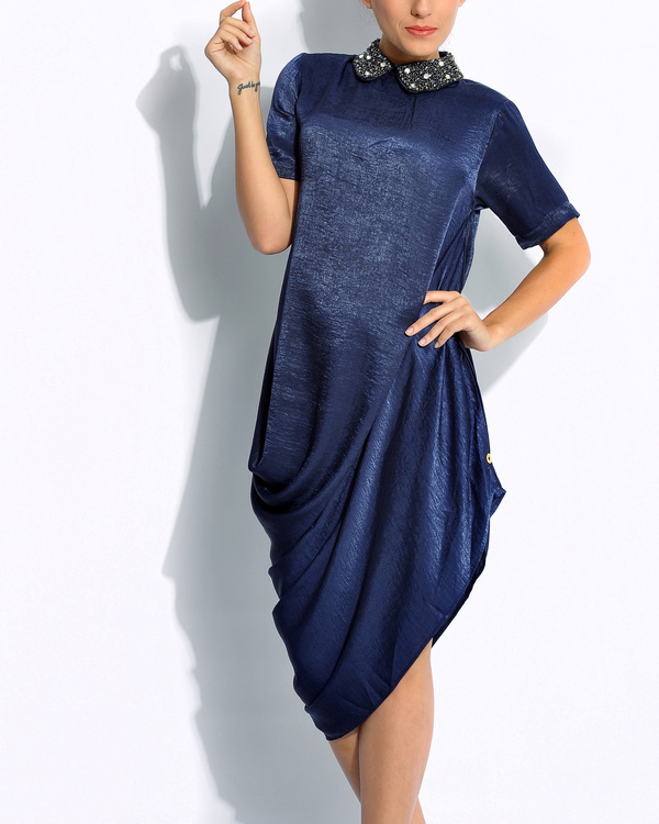 Navy draped dress