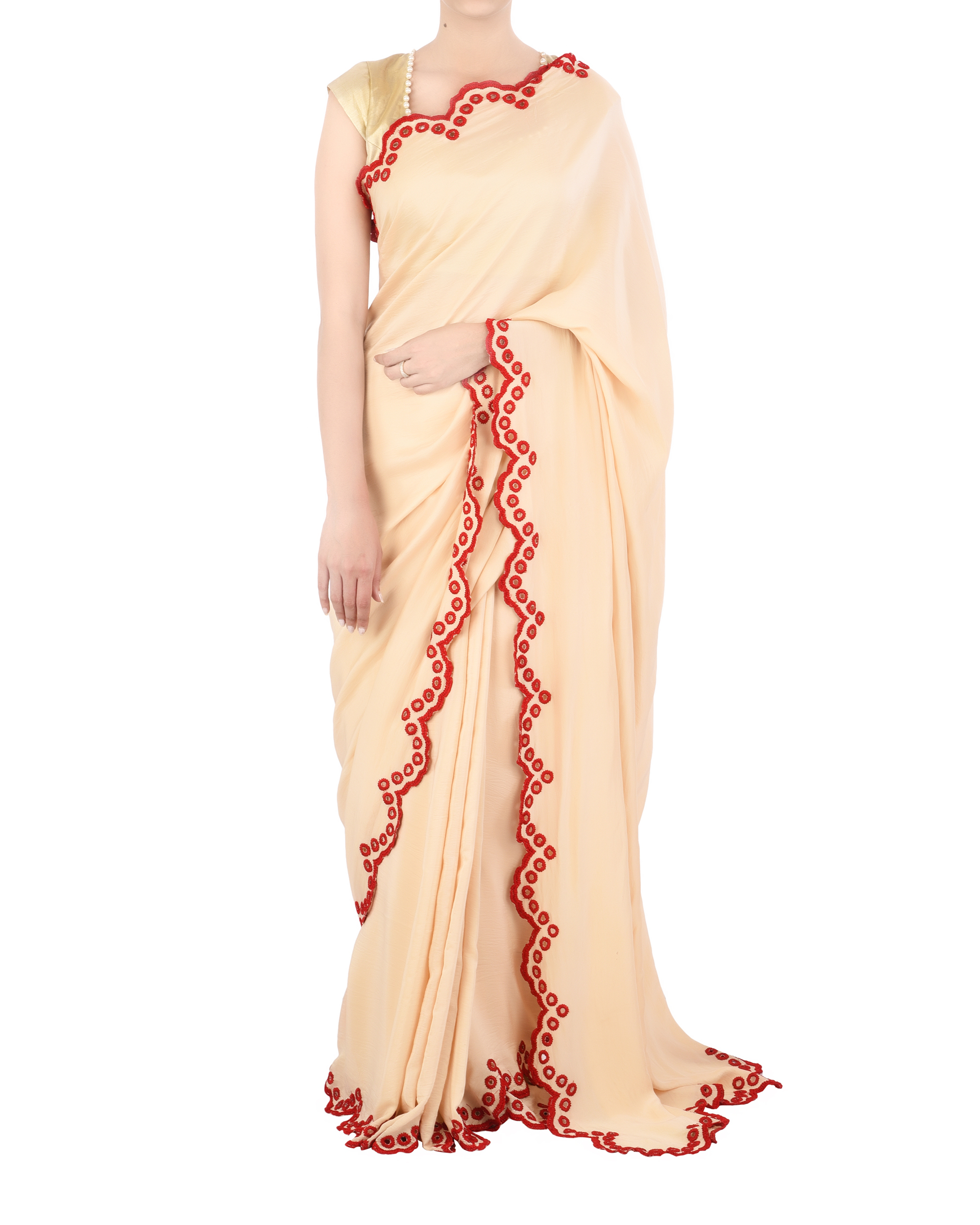 Satin sari with red scallop border