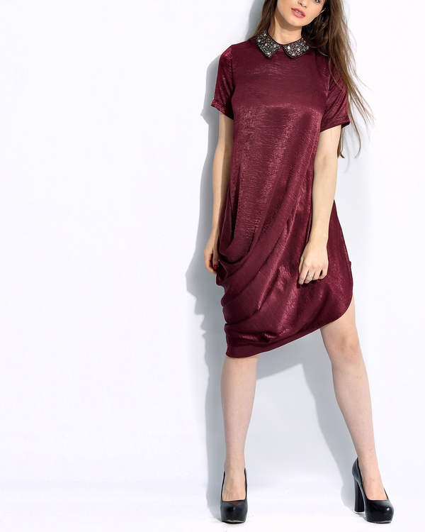 Wine draped dress