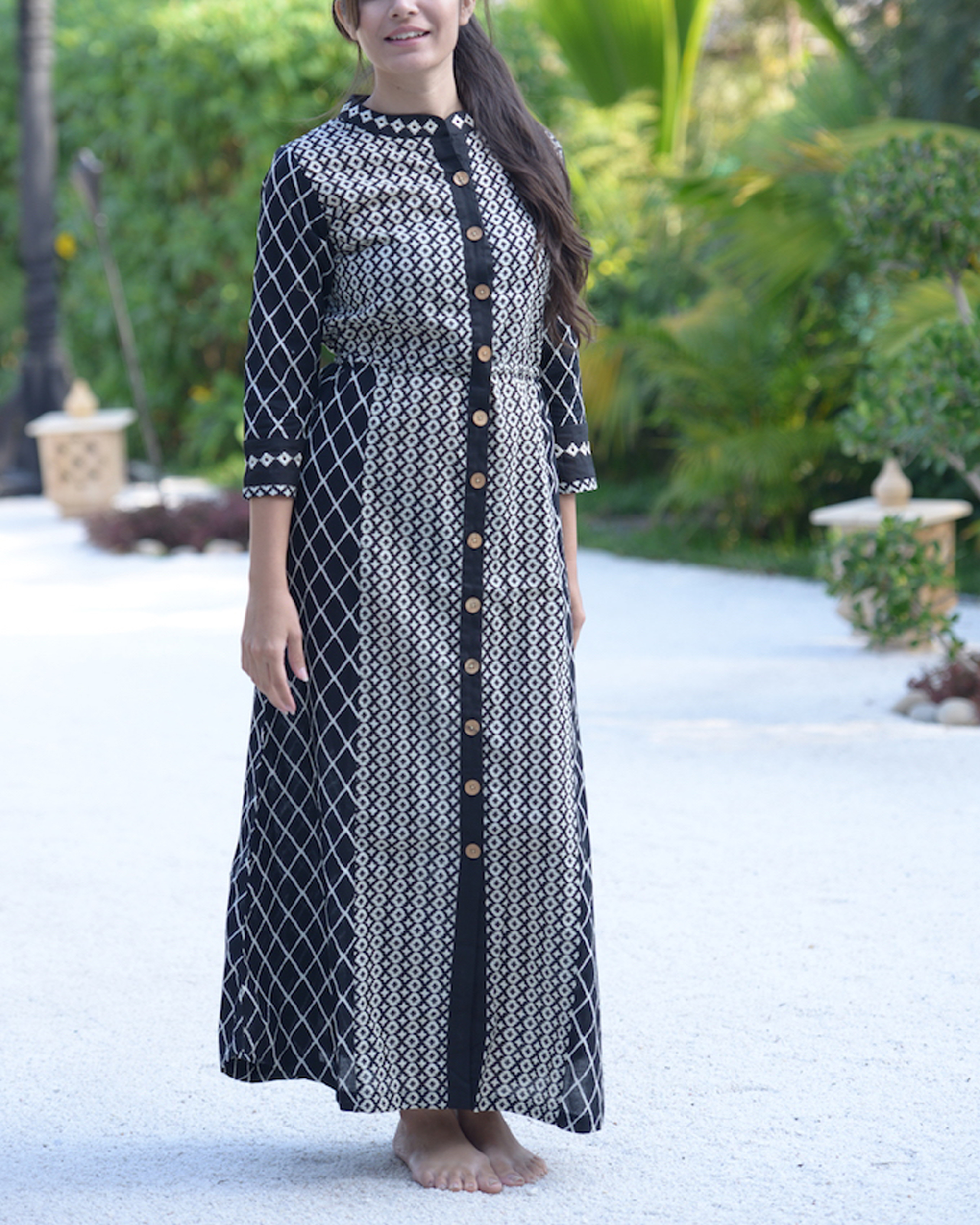 Black and white embroidered tunic