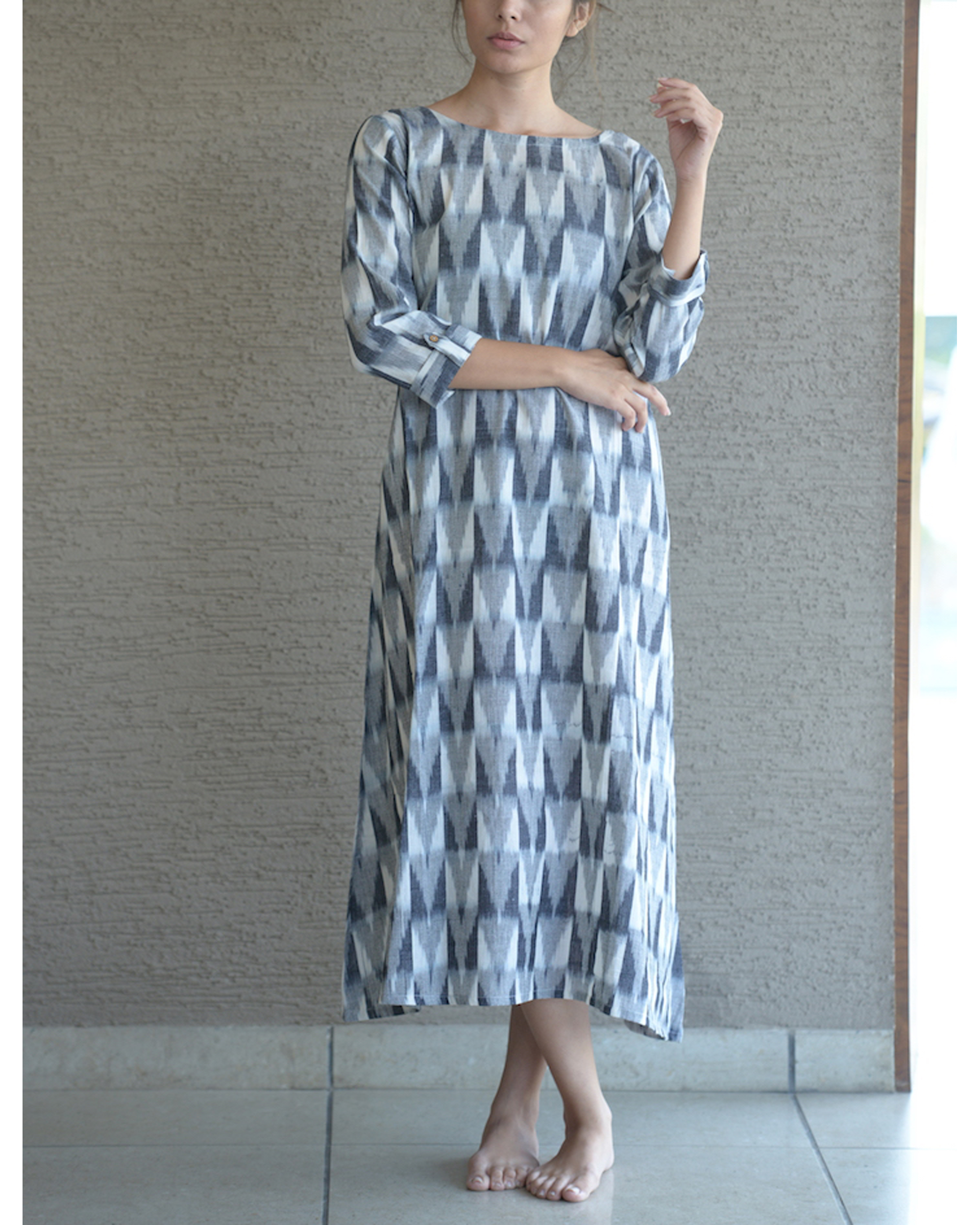Grey relaxed ikat dress