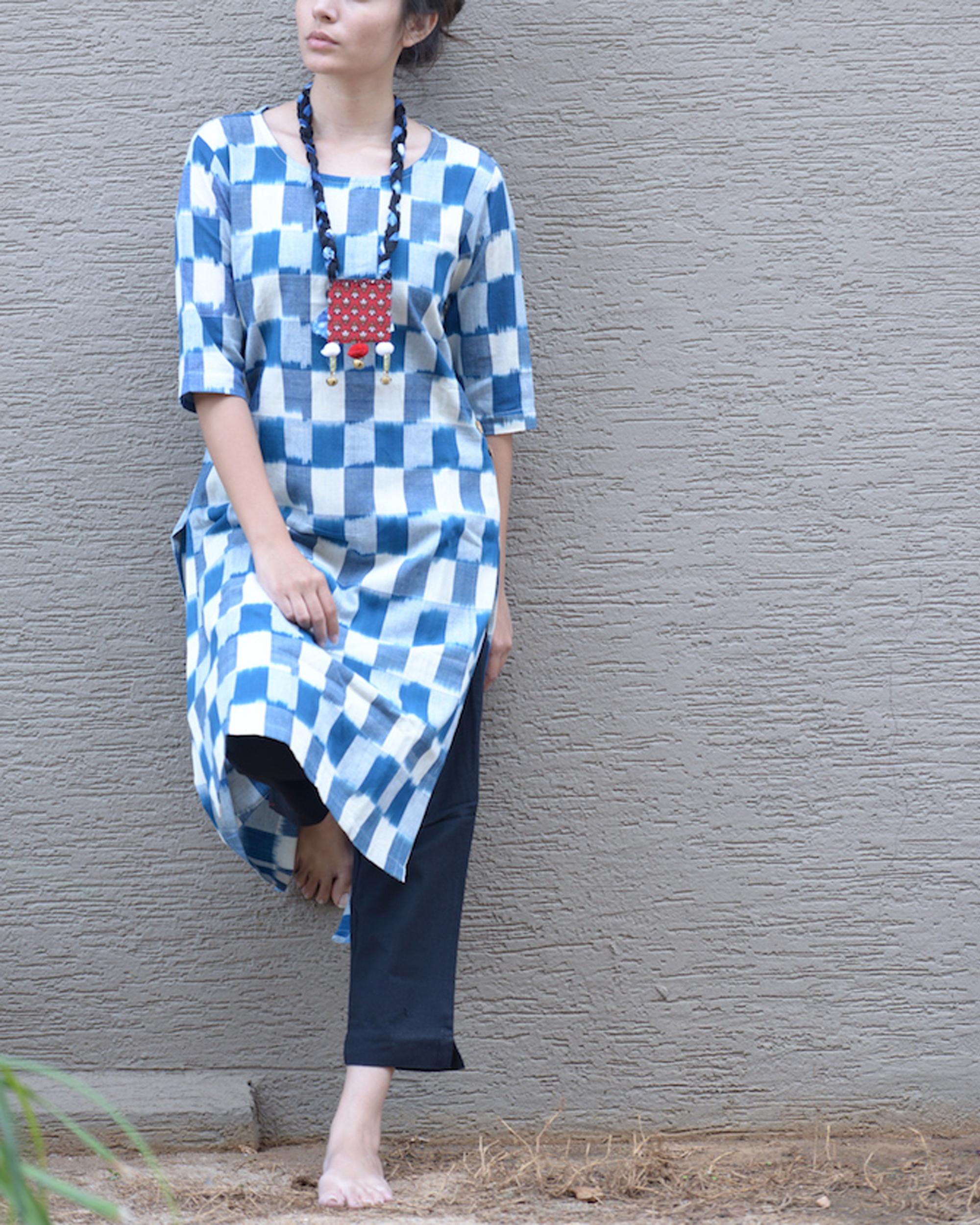 Blue ikat side button tunic