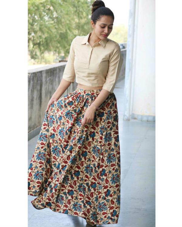 Beige floral skirt & crop top set