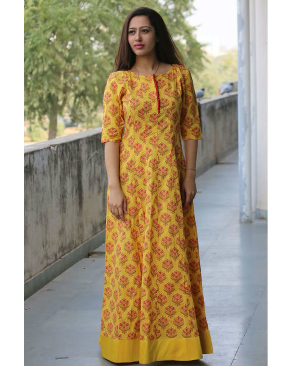 Yellow maroon block print dress