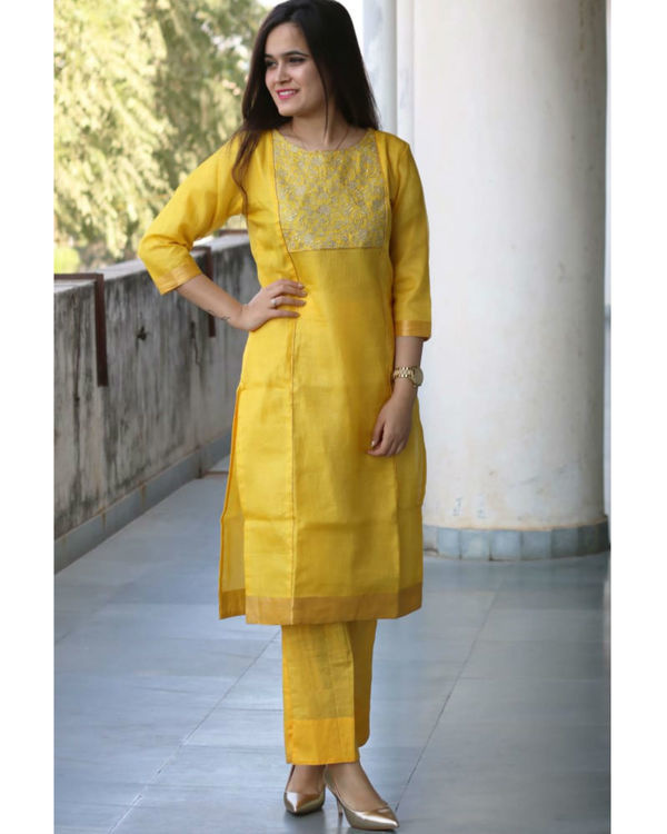 Yellow kota doria suit set