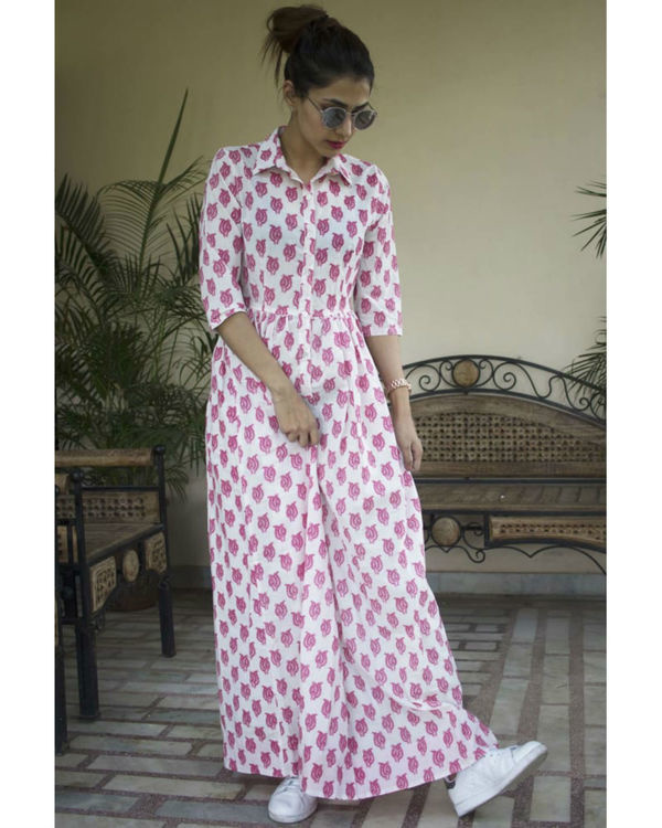 Pink double patti maxi dress
