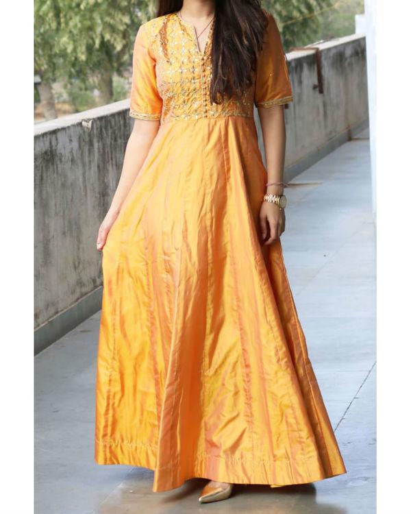 Yellow gotta patti silk gown