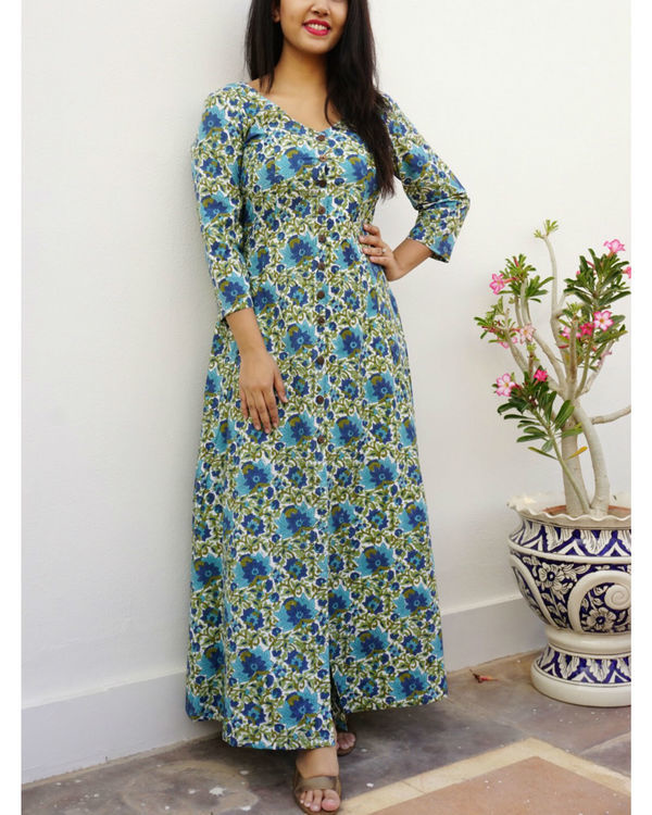 Bottle green floral maxi