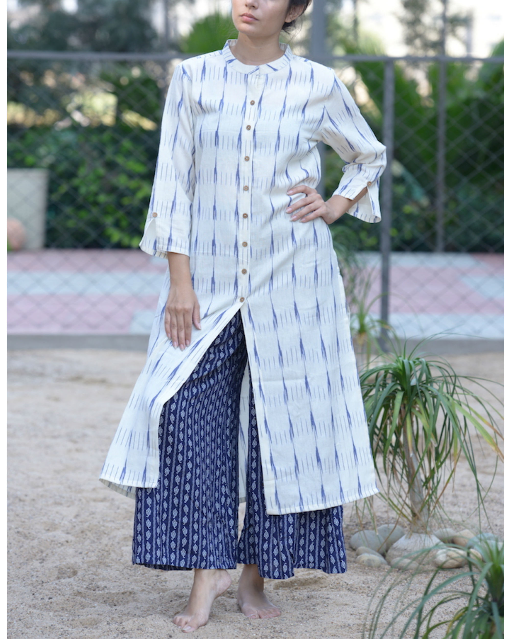 White ikat kurta with blue palazzos