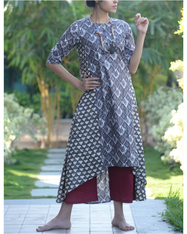 Grey asymmetric kurta with maroon palazzos