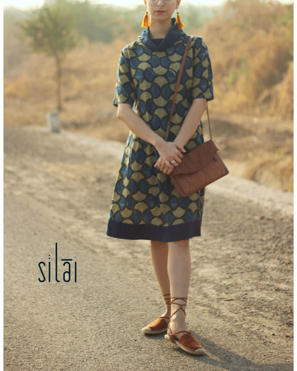 Cowl neck ajrakh dress