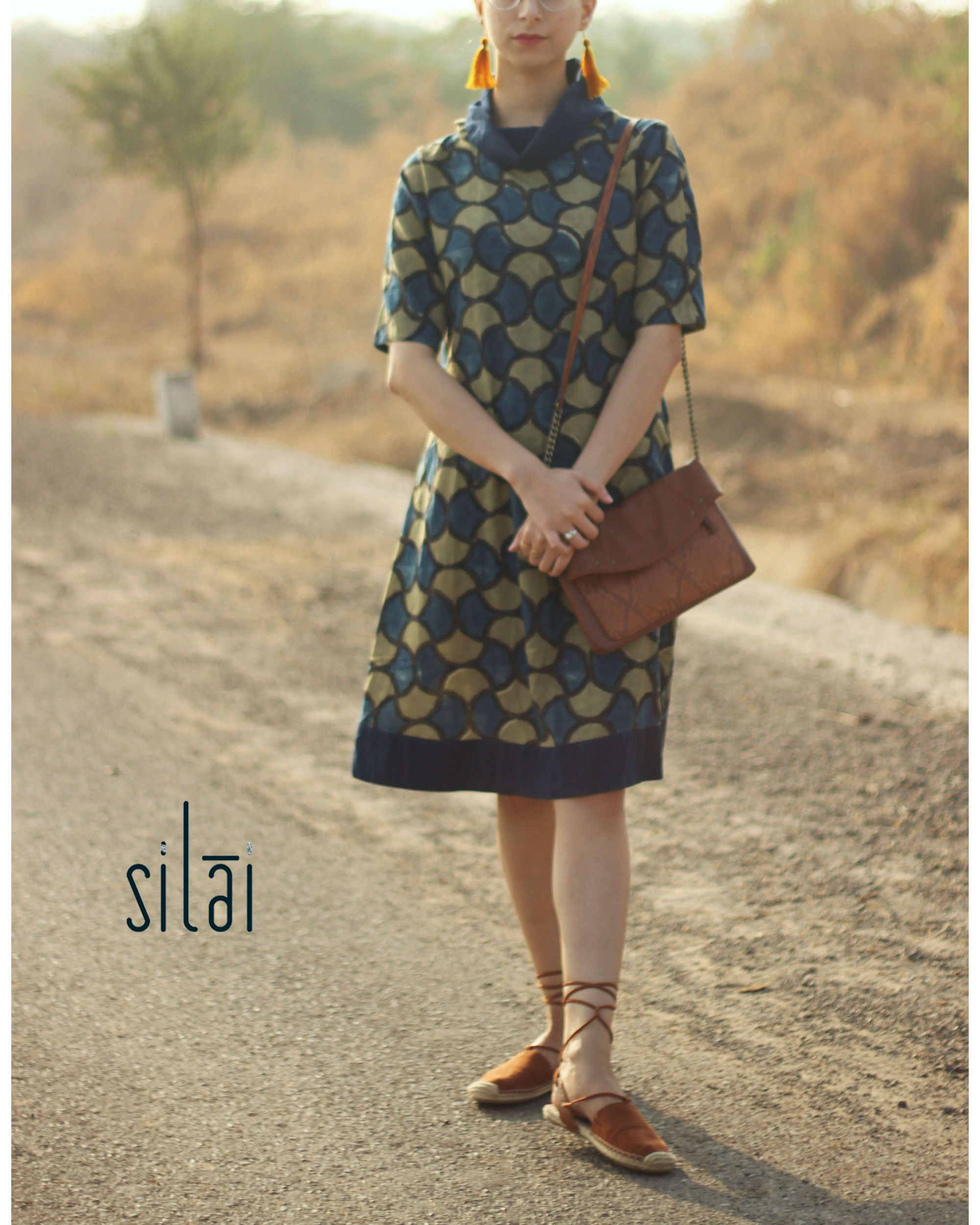 Cowl neck ajrakh dress