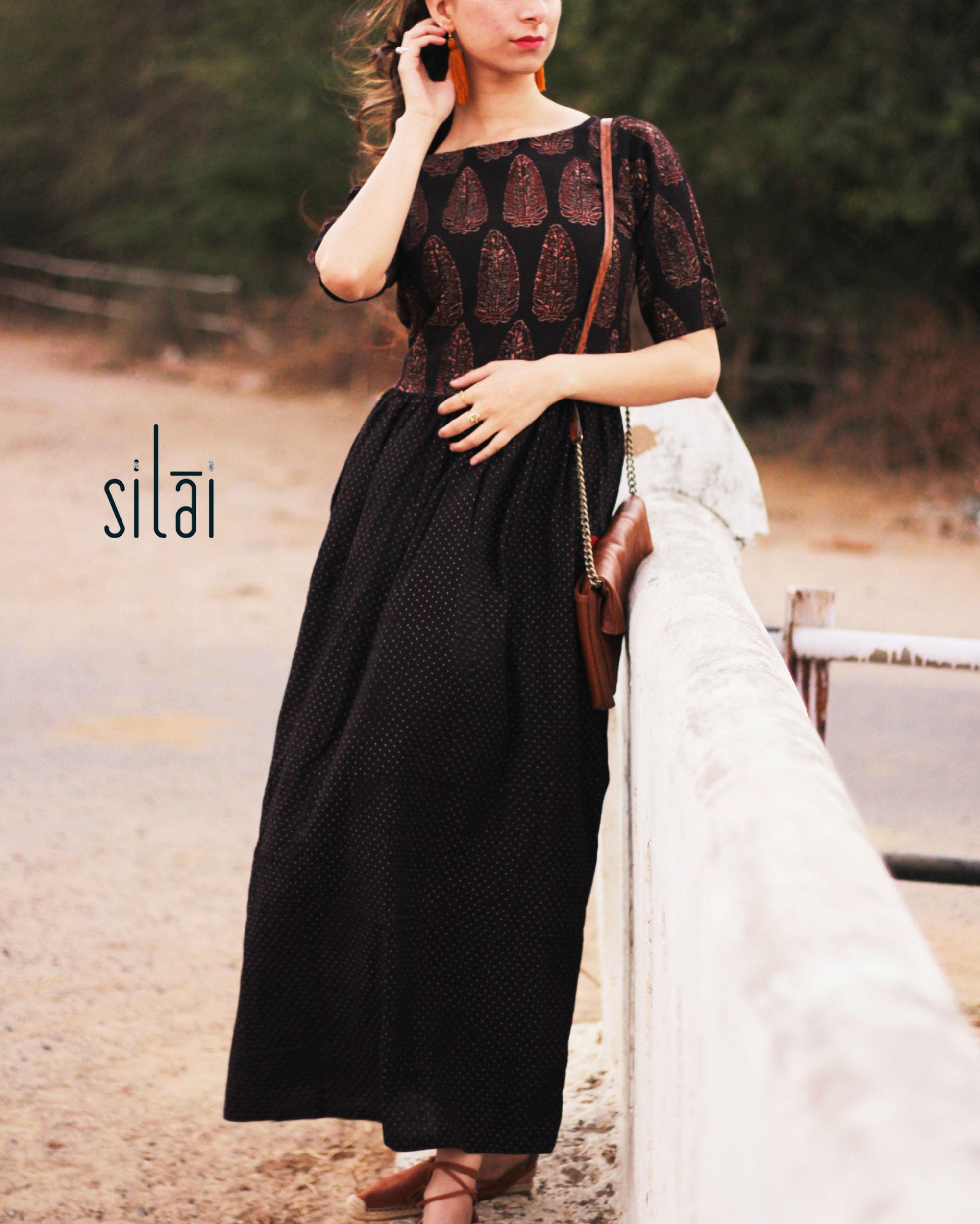 Black ajrakh gathered dress