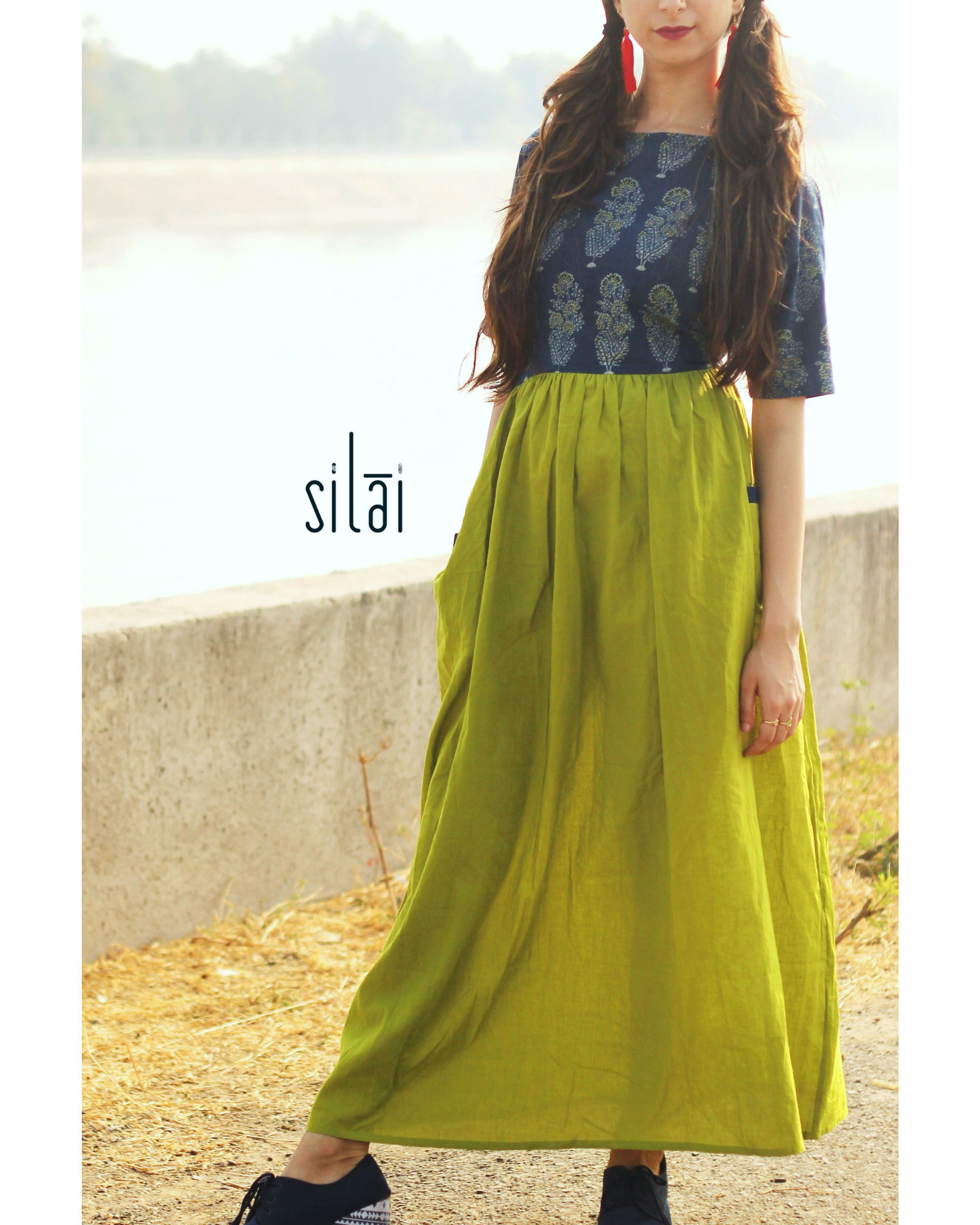 Parrot green ajrakh gathered dress