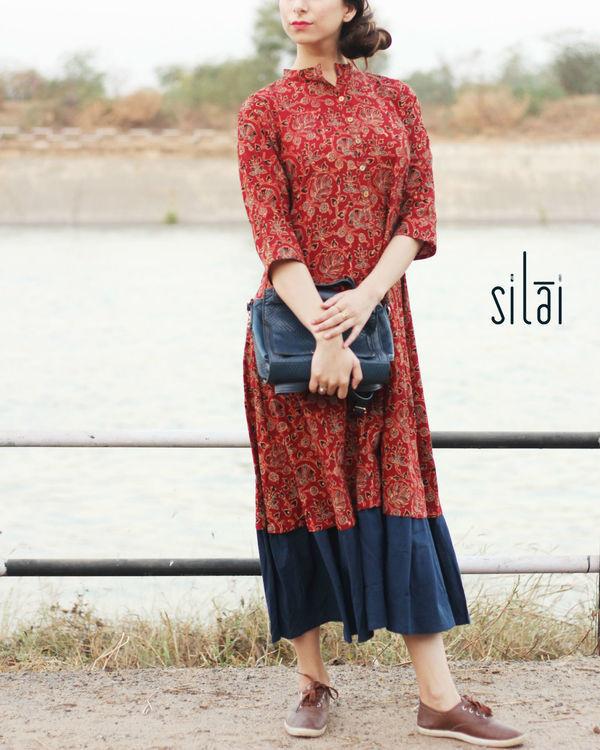 Indigo border ajrakh dress