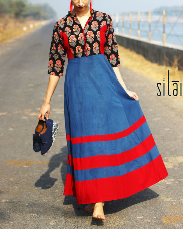 Deep Blue Ajrakh flared maxi