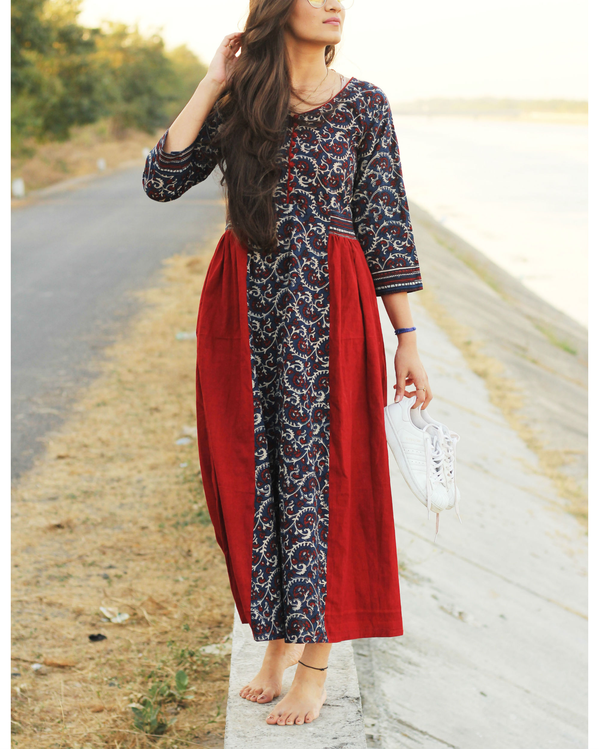Indigo and red ajrakh dress