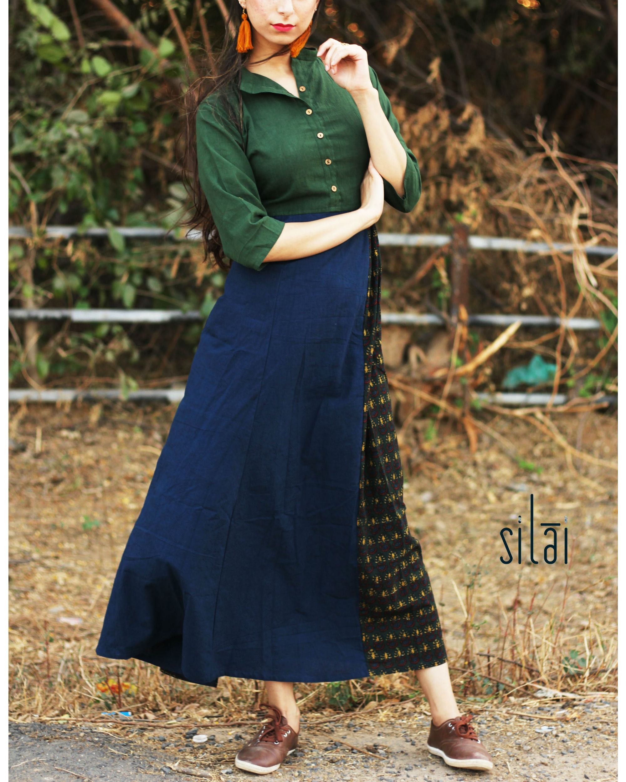 Deep green side gathered maxi