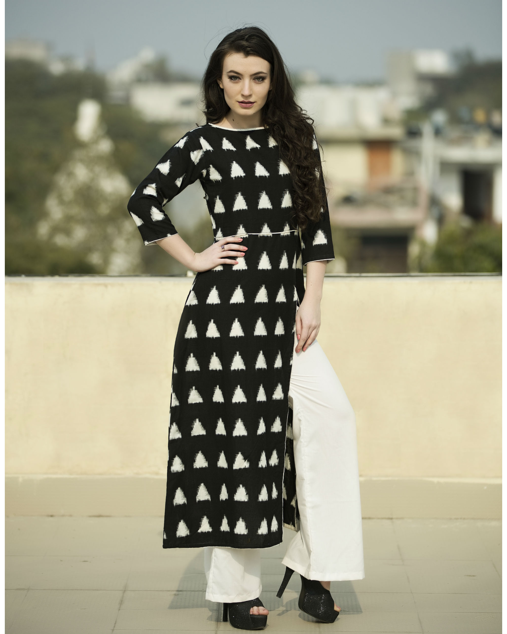 Set of Black triangle side slit cape with palazzos