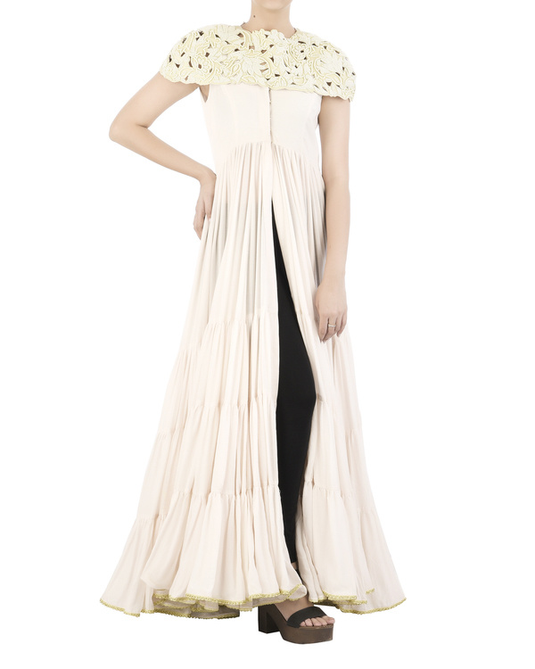 Off-white mal mal anarkali with pearl cape