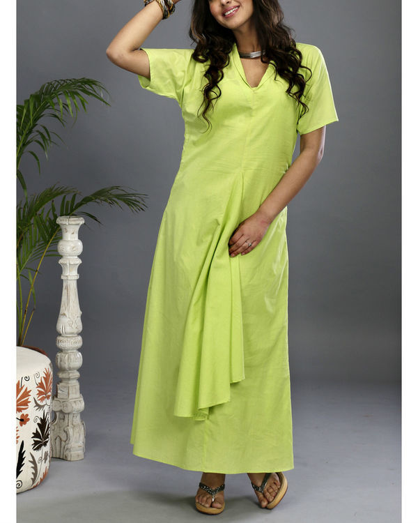 Green asymmetrical gown
