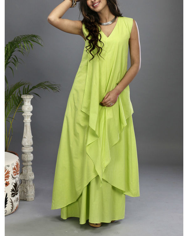 Green layered gown