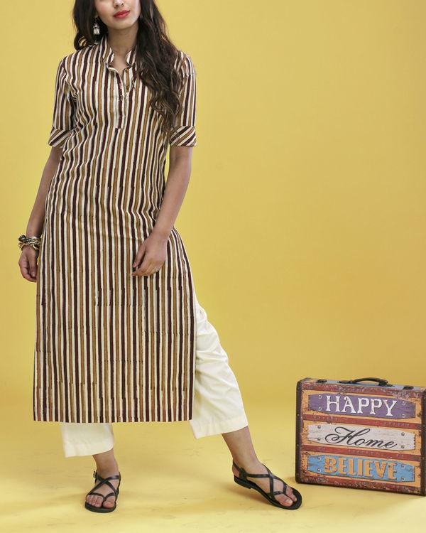 Brown striped kurta