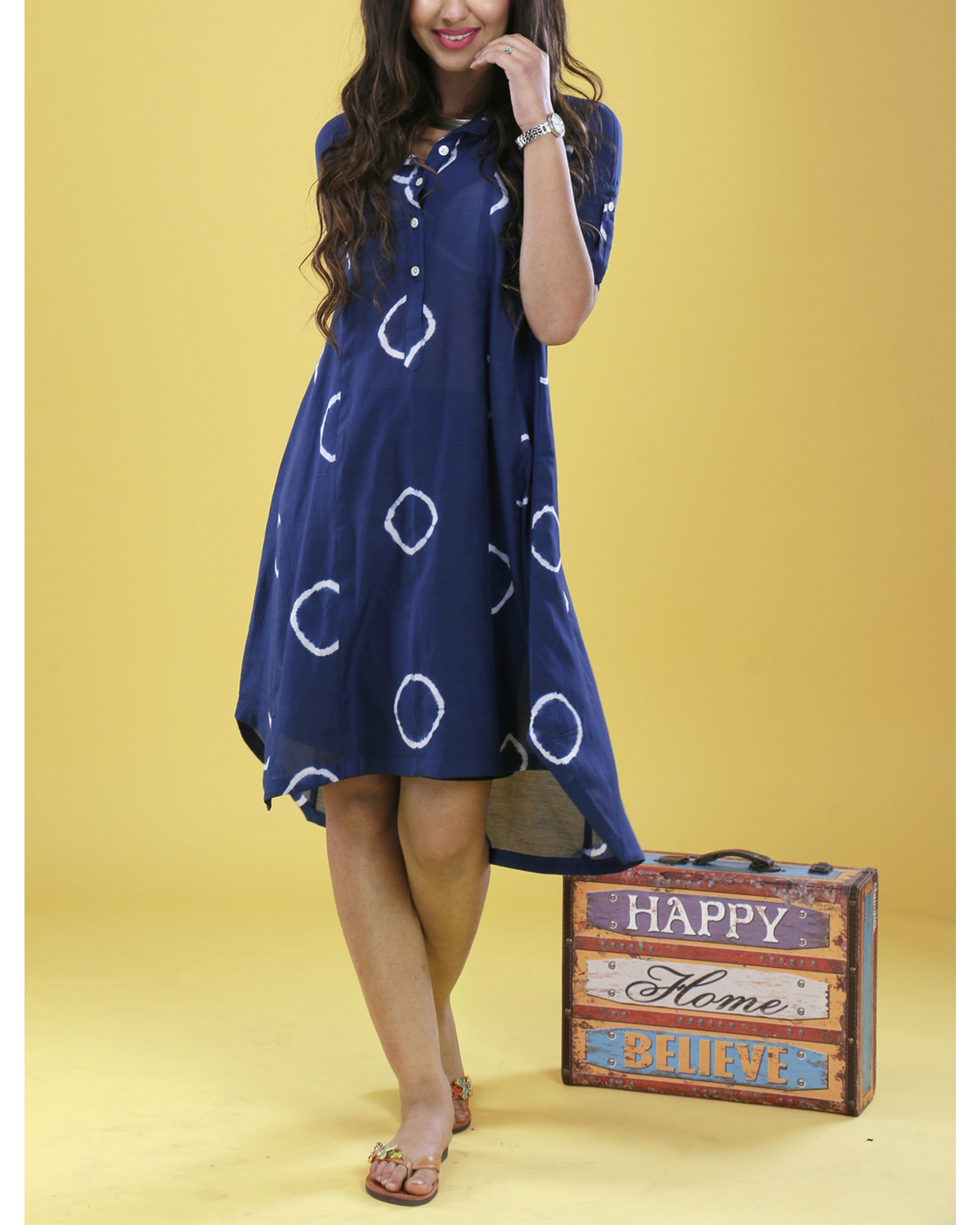Indigo raglan dress