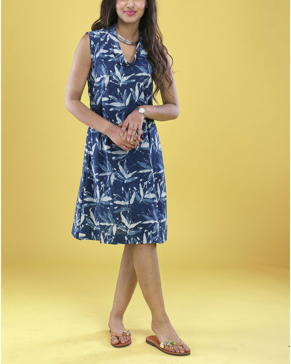Indigo floral cowl dress