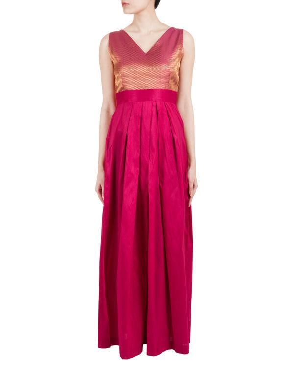 Pink asymmetric pleated dress