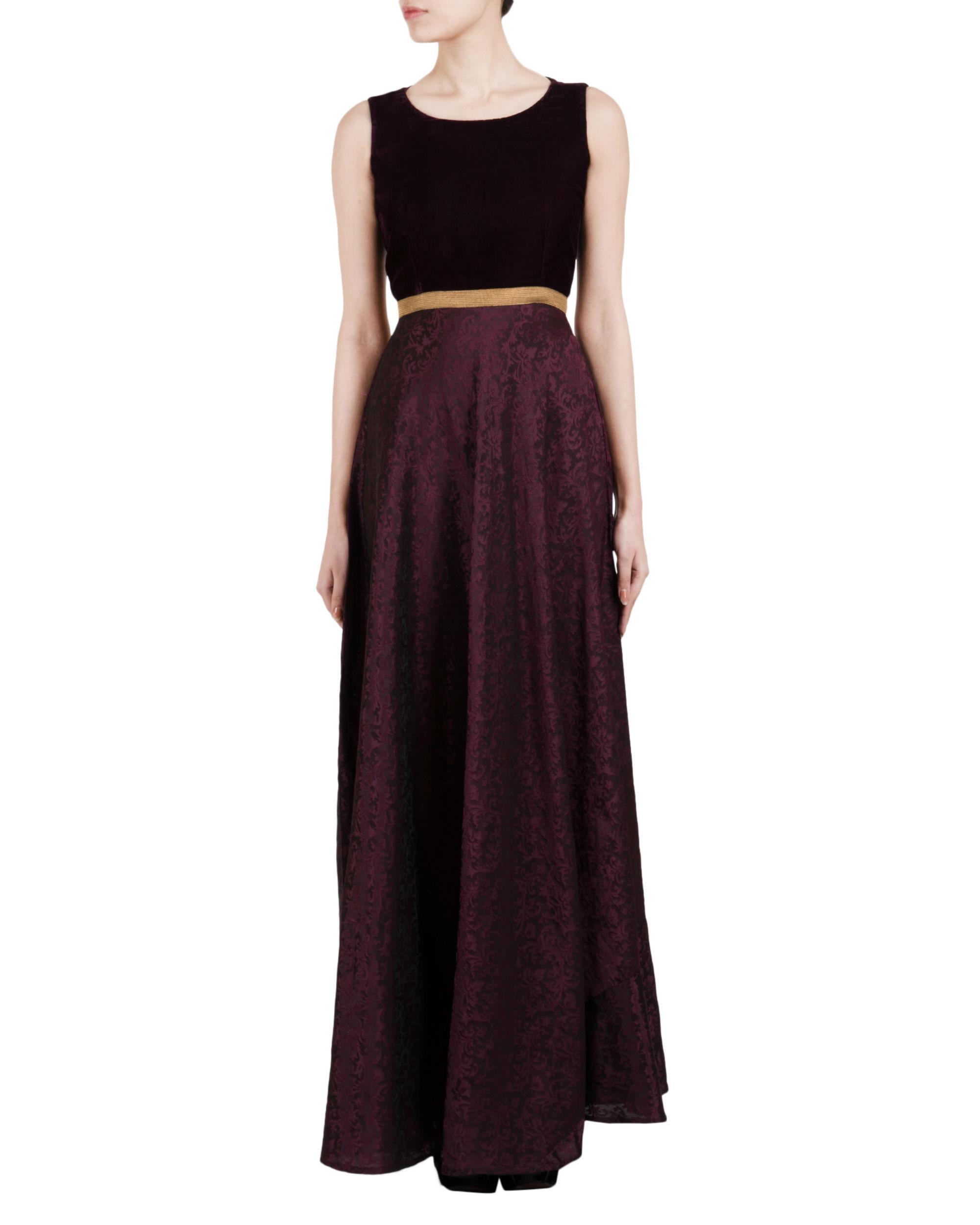Wine self print dress