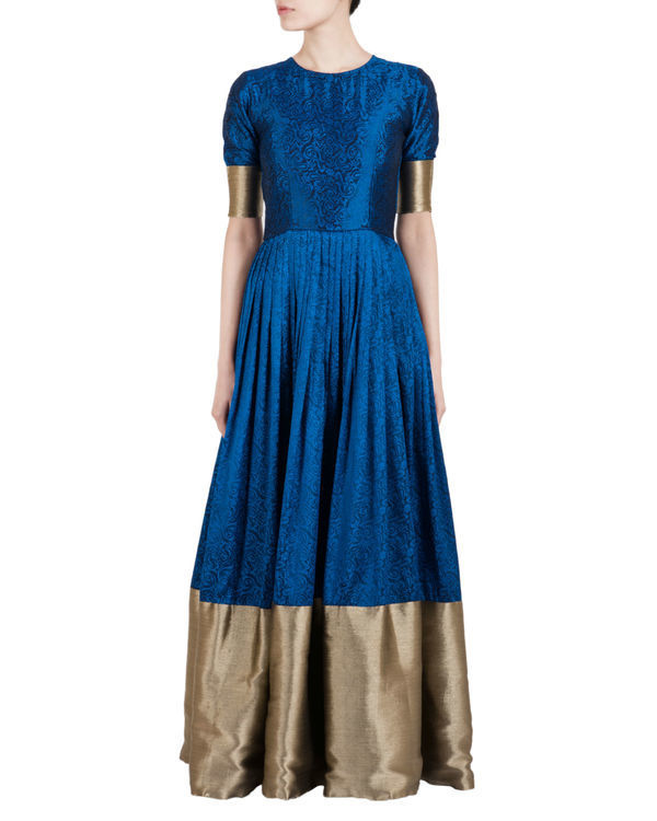 Blue and gold ballroom gown