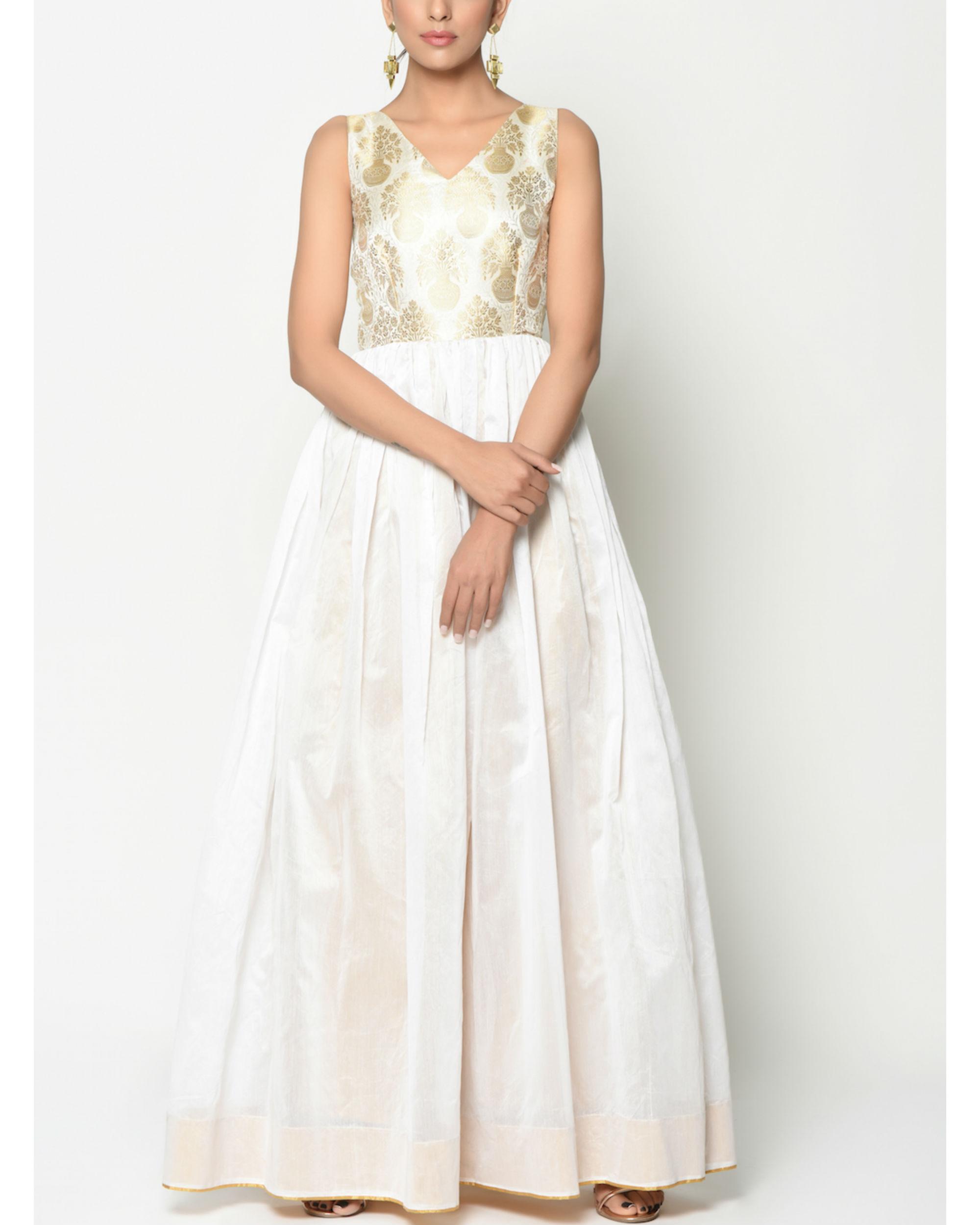 White brocade flare dress