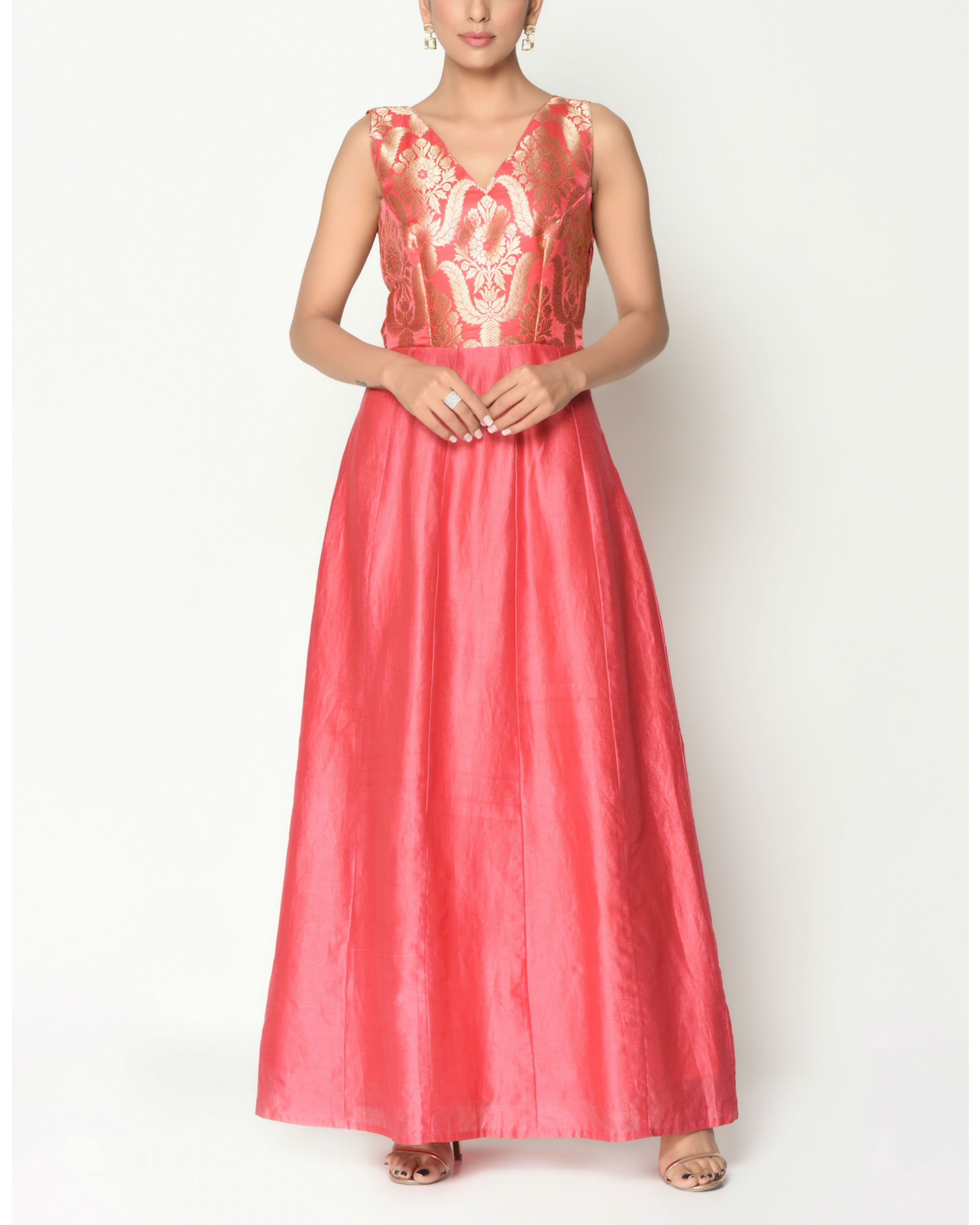Coral brocade flare dress