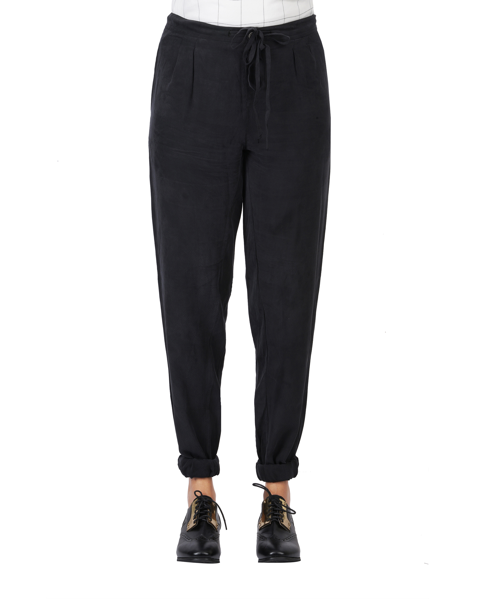Front pleated cupro  pants with elasticated bottom hem