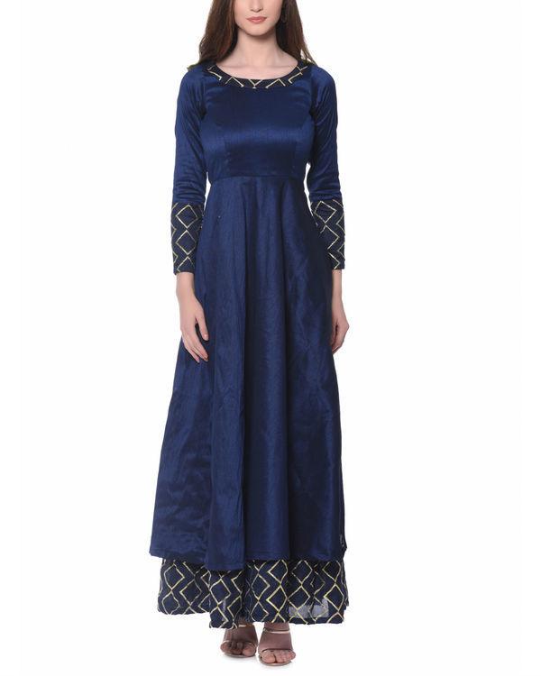 Blue grid border dress
