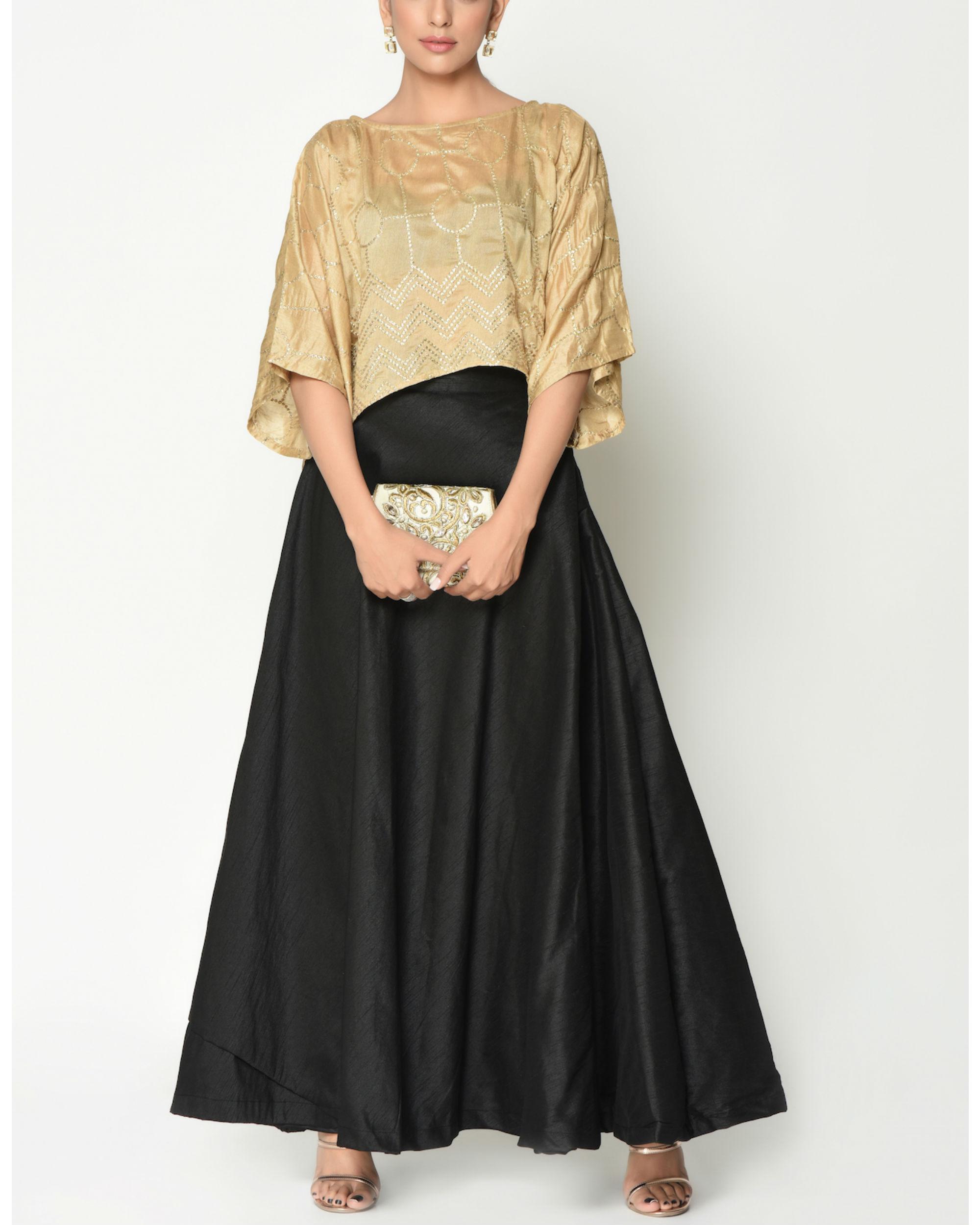 Gold kaftan top with skirt
