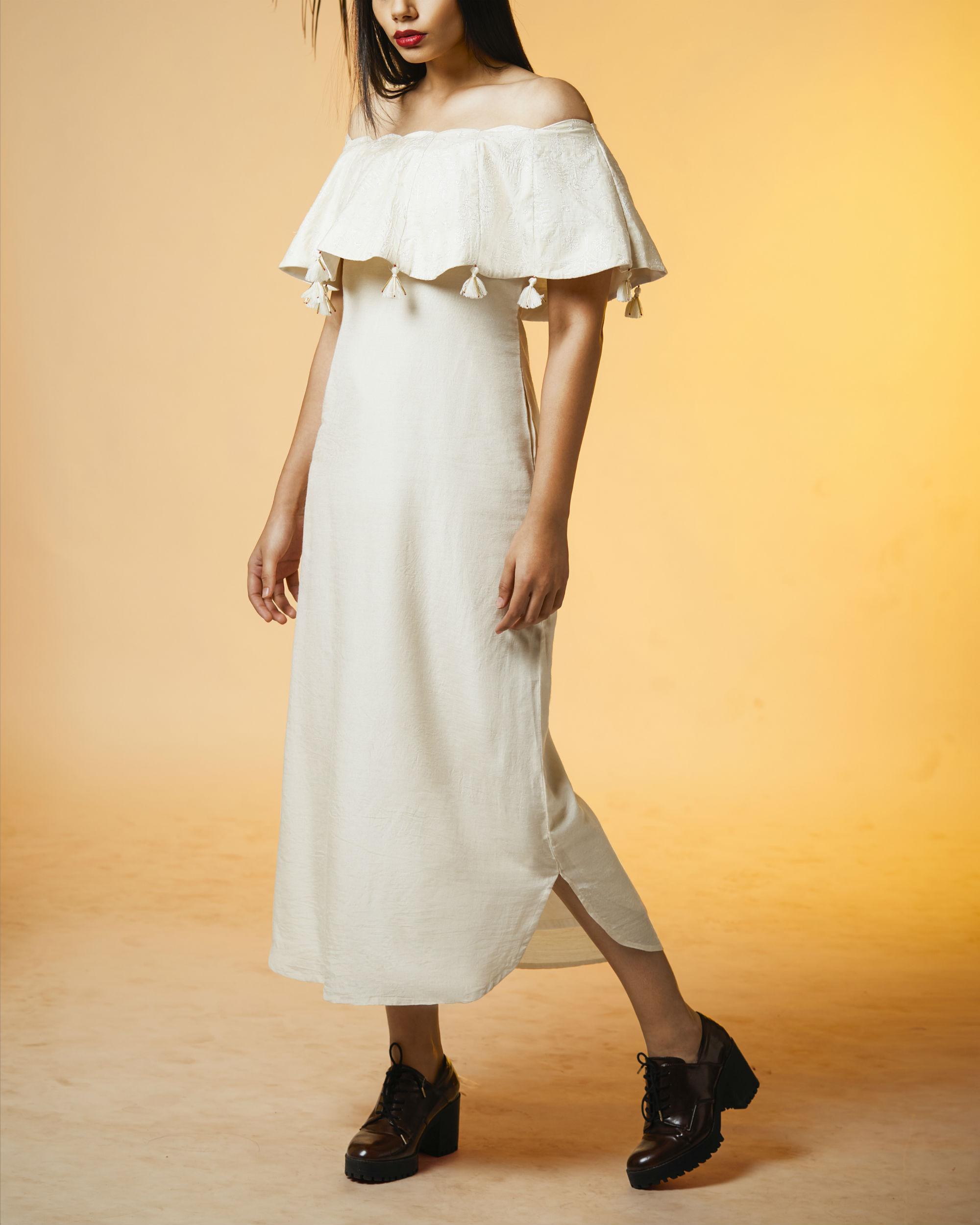 Tasseled off shoulder dress