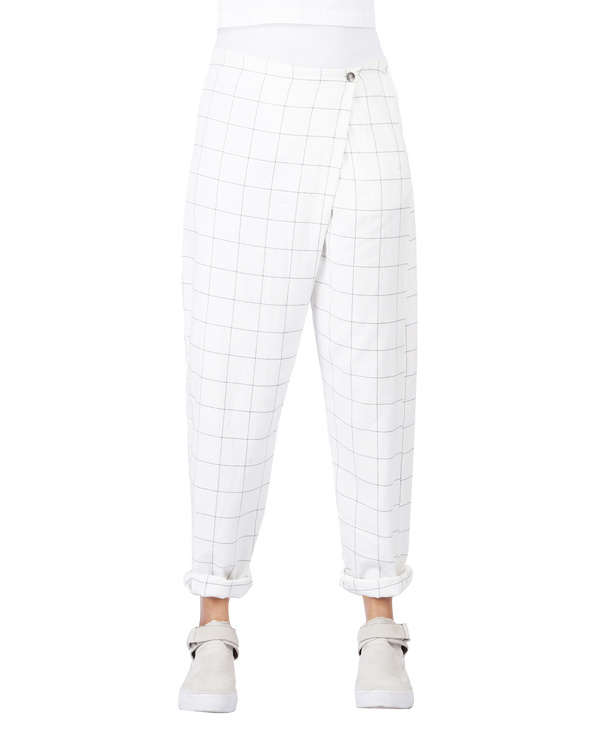 Checkered overlap pants