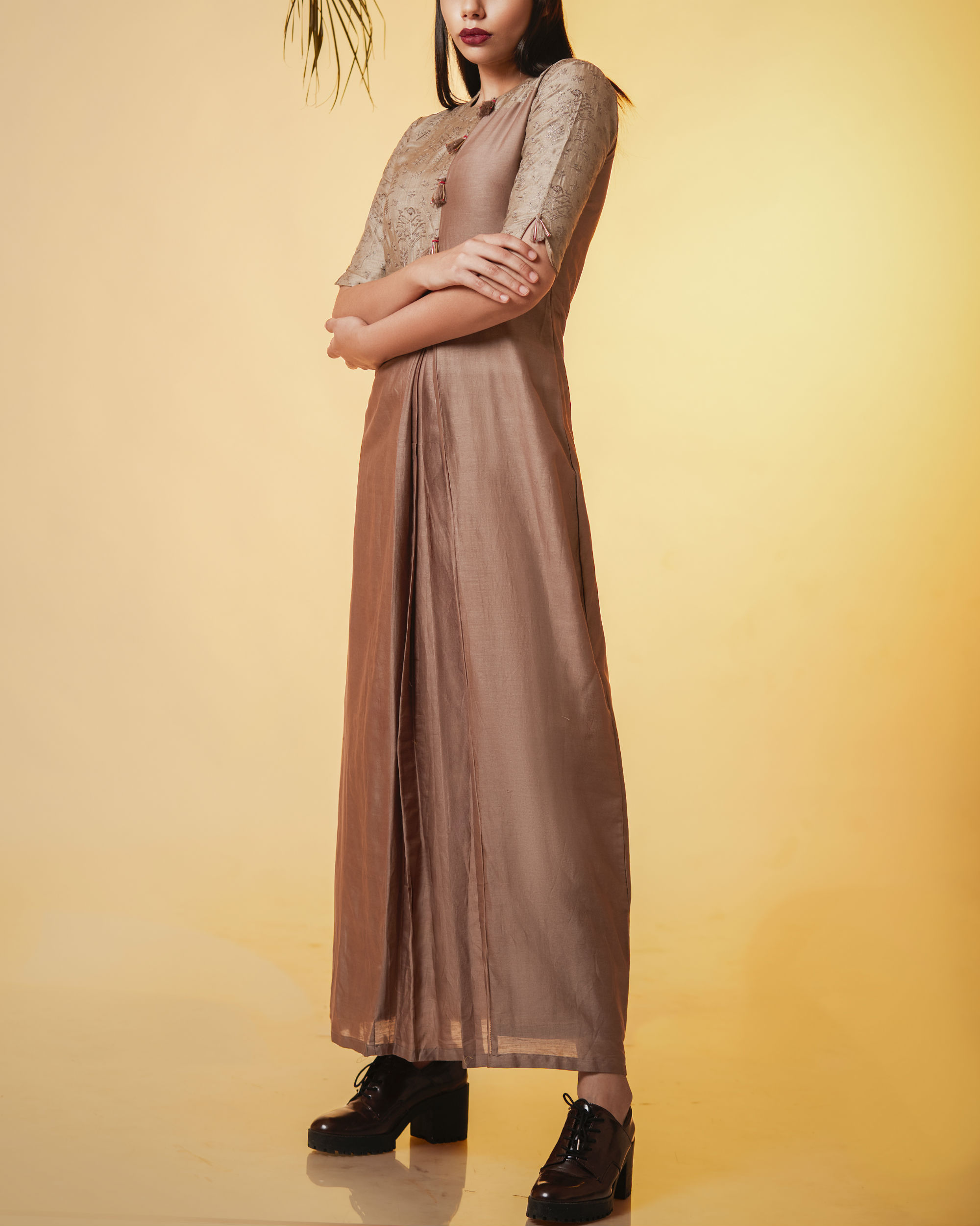 Pleated copper dress