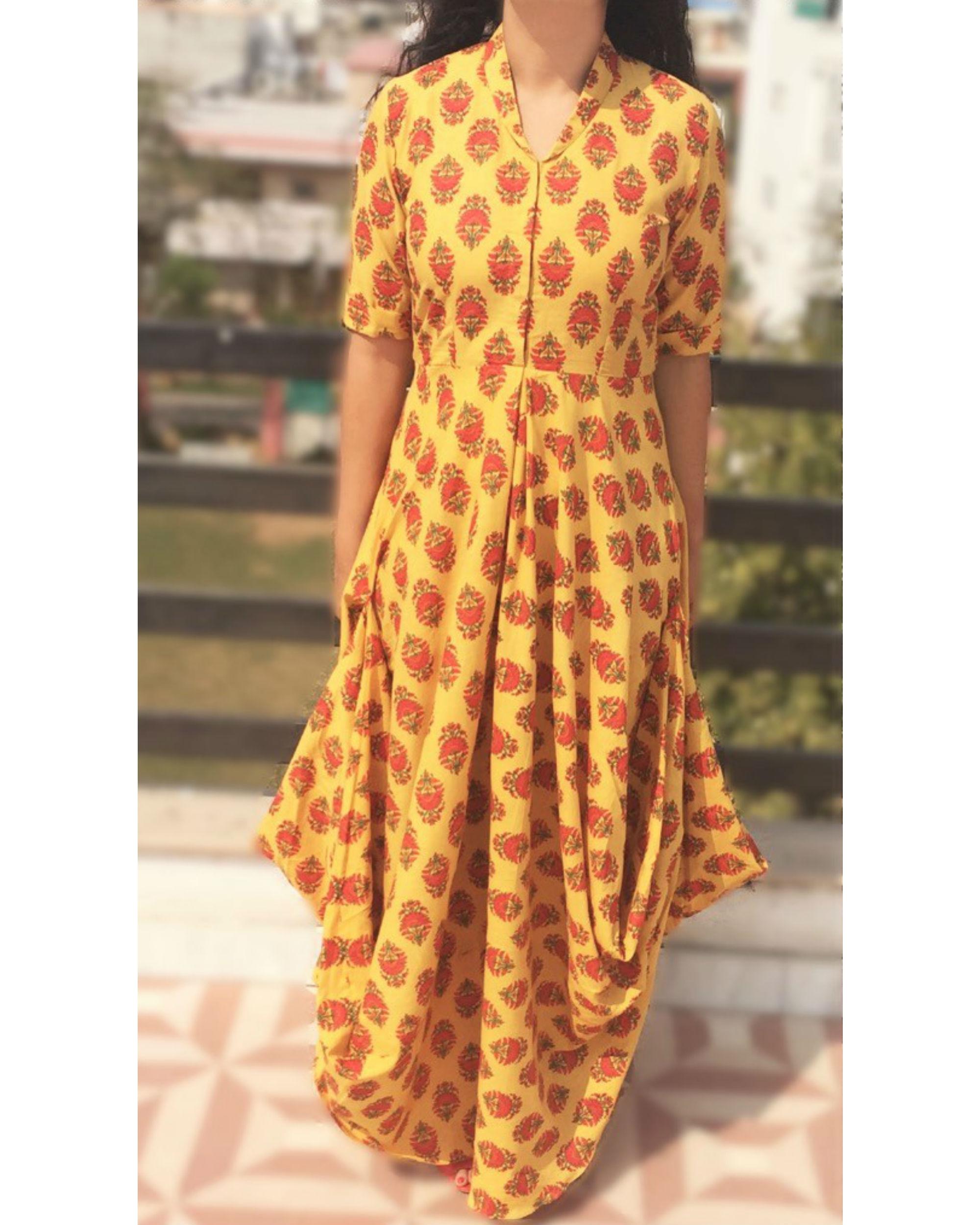 Mustrard draped dress