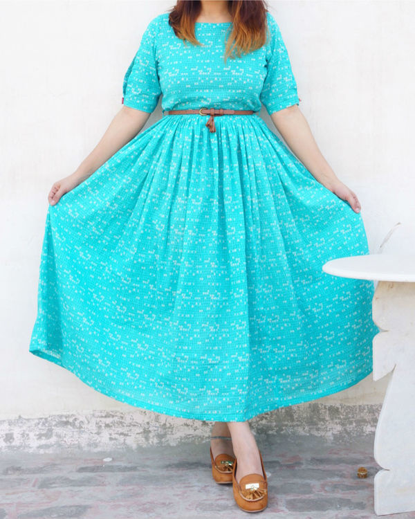 Turquoise flared dress