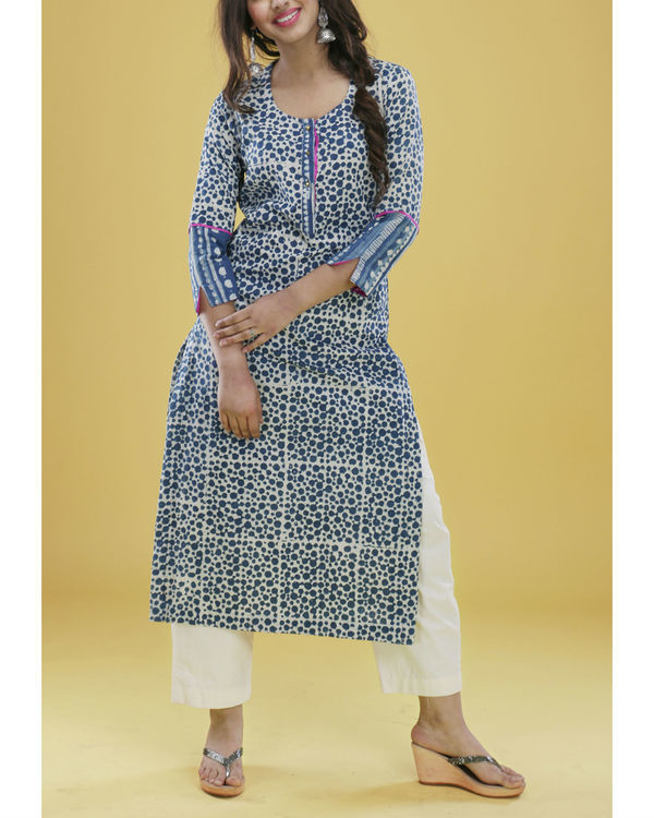 Indigo striped cuff kurta