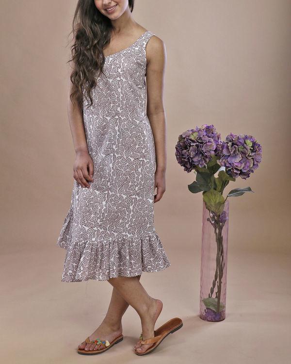 Grey leaf ruffled dress