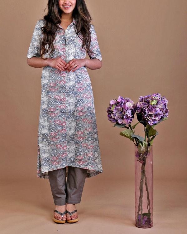 Grey floral kurta set